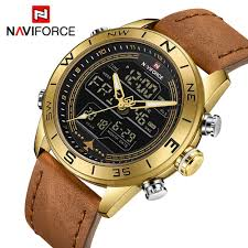 NAVIFORCE 9144 Fashion Gold <b>Men Sport Watches</b> Mens LED ...