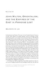 john milton orientalism and the empires of the east in paradise inside