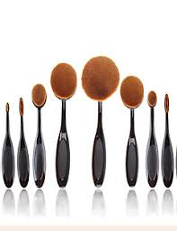 2016 new 10 pcs soft oval toothbrush makeup brush sets foundation brushes cream contour powder blush