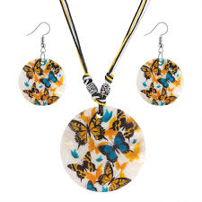 <b>Fashion African Jewelry Set</b> 2019 Leather Chain Enamel Shell ...
