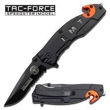 Tac-Force Folding Spring Assisted Tactical <b>Rescue</b> EMT EMS <b>Black</b> ...