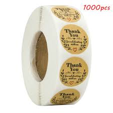 <b>1000pcs</b> Natural Kraft olive <b>round thank you</b> Stickers seal labels for ...