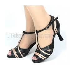 <b>Free Shipping</b> Wholesale <b>Black Leather</b> Womens Salsa Dance Shoes