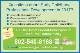 professional development vermont birth to  professional development hotline postcard