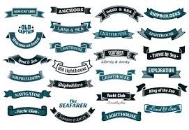 Nautical ribbon banners vector set - Vector Banner, Vector Ribbon ...