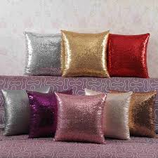 New Smooth Silk Satin Pillowcase 45cm <b>Solid Color</b> Cushion Cover ...