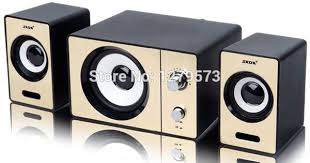 2.1 PC Speakers with Dual Subwoofers and Control Box Connects ...