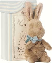 <b>Мягкая игрушка Maileg</b>, <b>Мой</b> первый заяц в коробке, голубой