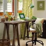 green metal side lamps cream colored rug carpet wooden plank rustic home office desks green curtains beautiful rustic home office desks introducing