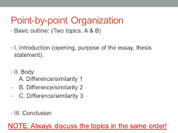 academic writing i april  th today continue     comparison contrast    point by point organization basic outline   two topics  a  amp  b