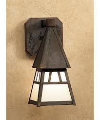 shown in mission brown finish and off white glass arroyo craftsman lighting