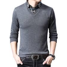 BROWON Sweater Mens Knitwear Autumn Fashion Sweater Men's ...