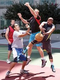 adobe employees enjoy a lunch time pickup basketball game at their san jose headquarters adobe offices san jose san