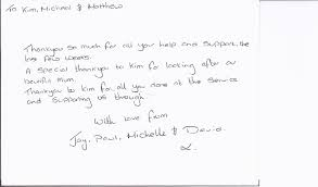 testimonials family funeral servicefamily funeral service a lovely letter for kim a great start to a monday morning receiving this thank you and such lovely hand writing puts your to shame kim