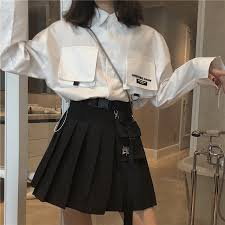 <b>High waist a word</b> pleated skirt female spring and summer new ...