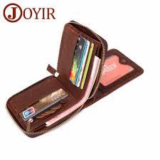 <b>JOYIR Genuine Leather Men</b> Wallet Small RFID Wallet Zipper Male ...
