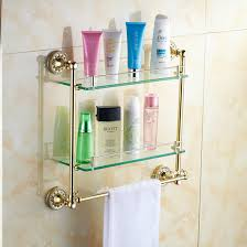 bathroom tempered glass shelf: bathroom accessories solid brass golden finish with tempered glassdouble glass shelf bathroom double shelf