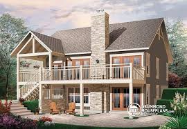 House plan W detail from DrummondHousePlans comRear view   BASE MODEL Transitionl style Cottage house plan  cathedral ceilings  fireplace