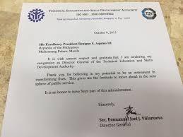 joel villanueva resigns from tesda inquirer news resignation letter of secretary joel villanueva