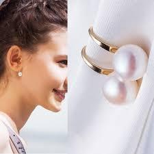 1Pair Simple Alloy Stud Earrings <b>Graceful</b> Popular Silvery Pearl ...