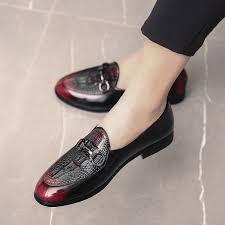 Fashion Big Size <b>Men's Loafers</b> Dress <b>Crocodile Pattern</b> Formal ...