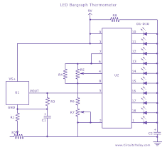 <b>LED Thermometer</b>-Temperature Measurement Circuit using LM 34 IC