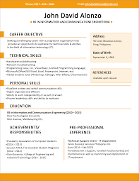 sample simple one page resume template resume sample information resume template one page example for information technology technical skill and pre professional experience