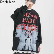 <b>Dark Icon</b> Printing Hip Hop <b>Hooded</b> Men Pullover Oversized Relax ...