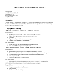Resume Template. Objective for Executive Assistant Resume ... Resume Template, Administrative Assistant Resume Sample For Objective With Exmployment History As Office Administratot In