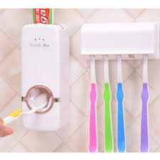 <b>Automatic</b> Toothpaste Dispenser with <b>Wall</b>-<b>Mounted</b> Toothbrush ...