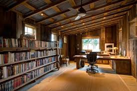 calistoga barn mid sized mountain style home office photo in san francisco with brown walls concrete atherton library traditional home office