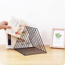 Modern Desktop Book Storage <b>Shelf Metal Iron Bookshelf Magazine</b> ...
