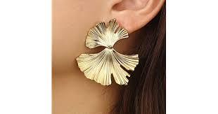 Women Vintage Fashion <b>Creative Big Metal</b> Flower Ginkgo Leaf ...