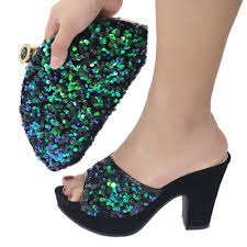 Free Shipping Bling Green Colorful Sequins Lady Slippers Shoes ...