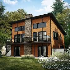 House plan W detail from DrummondHousePlans comRear view   BASE MODEL Scandinavian rustic ski chalet plan   bedroom  family