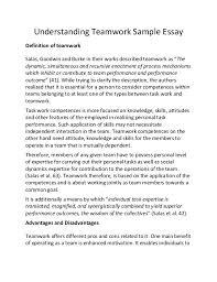 reflective essay on teamwork understanding teamwork sample essay understanding teamwork sample essay definition of teamwork salas goodwin and burke