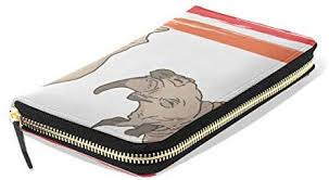 <b>Cute</b> Rhinoceros Girl Cartoon <b>Women's</b> Long Wallet <b>Printed</b> Zipper ...