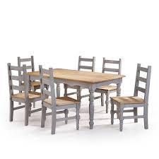 Manhattan Comfort Jay <b>7</b>-<b>Piece Solid</b> Wood Dining Set with 6 Chairs ...