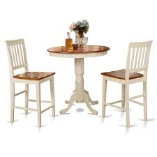 cherry counter height piece: buttermilk and cherry counter height table and two kitchen chair  piece dining set