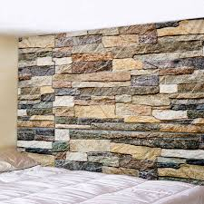 Bump 3D <b>Stone Wall Printed</b> Tapestry Wall Hanging Large Size Wall ...