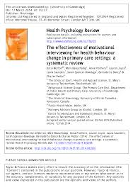 the effectiveness of motivational interviewing for health the effectiveness of motivational interviewing for health behaviour change in primary care settings a systematic review please scroll down for article pdf