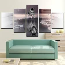 Dog and <b>Wolf</b> Reflection 5 Piece <b>Wall Art</b> Canvas <b>Print</b> – Hearts Of ...