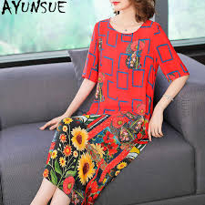 AYUNSUE Summer Dress 2019 <b>Women</b> Print <b>Silk</b> Beach Dress ...
