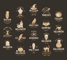 <b>Vintage</b> Style <b>Halloween</b> Logos or Labels Template Big Set. Hand ...