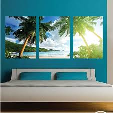 palm tree wall stickers:  palm tree wall art decals large beach wall mural zoom