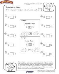 Greater or Less – 1st Grade Math Worksheets – JumpStartGreater or Less