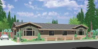 Corner Lot House Plans and House Designs for Corner PropertiesD  One story duplex house plans  ranch duplex house plans  bedroom