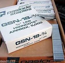 5000 box paslode gsn18 1 4w x 3 4 galv crown staples angled metal legs 4quotw