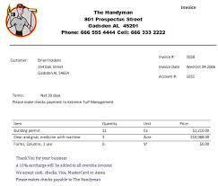 practiced handyman invoice templates  demplates