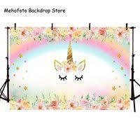 mehofoto gold unicorn backdrop birthday party background folral photo baby girl photography backdrop